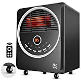 Space Heaters for Indoor use - Portable with 4 wheels, 1500W/750W/Eco, 450Sq.Ft Coverage, Remote Control & Timer, Energy Saving, Overheat & Tip-Over Protection, Electric Infrared Room Heater