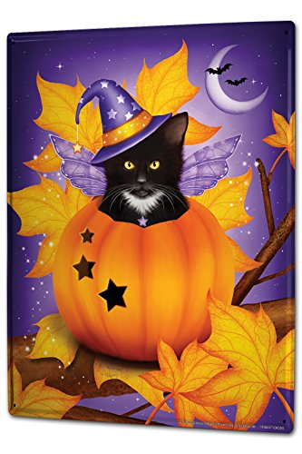Tin Sign XXL Gothic Cat pumpkin wings Dream World Vintage (Sign Tin Wings)