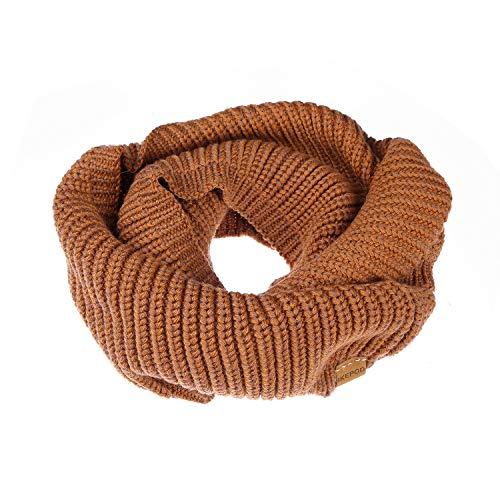 (IKEPOD Merino Wool Infinity Scarf - Women Knit Winter Warm Circle Loop Scarves)