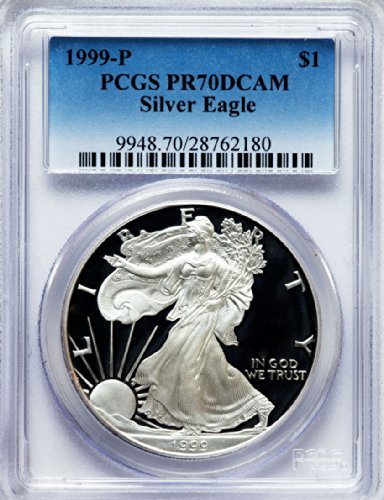 1999 P American Silver Eagle Dollar DCAM PCGS PR70