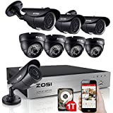 ZOSI 8CH 720P DVR 1280TVL HD Security Camera System with 8 Indoor/ Outdoor Waterproof 120ft Night Vision Security Cameras 1TB HDD Support 3G Smartphon