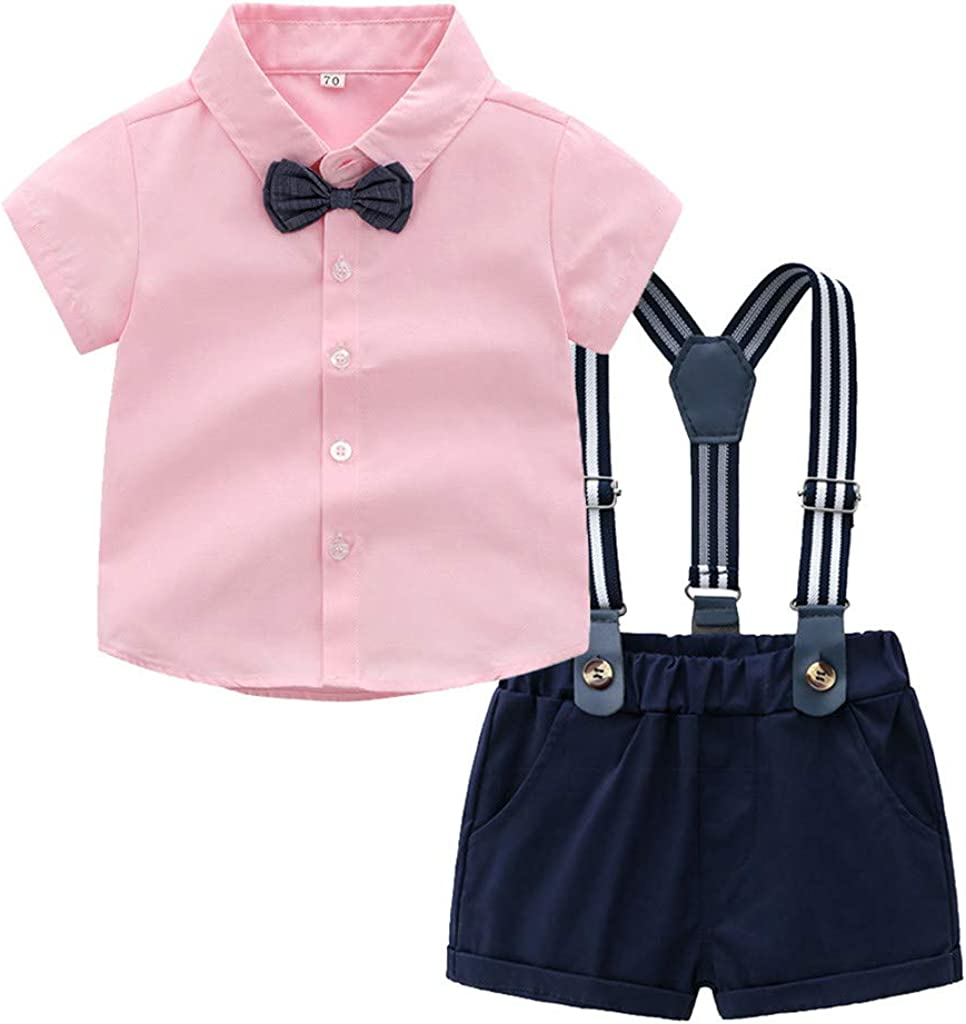 2PCS Baby Boy Clothing Sets,Minshao Toddler Baby Boys Gentleman Bow Tie T-Shirt Tops+Shorts Overalls Clothes Outfits for 0-24 Months