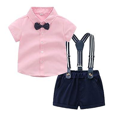 7dc6f2f44a79 Riverdalin Toddler Kids Baby Boys Gentleman Clothing Sets Bow Tie T-Shirt  Tops+Shorts