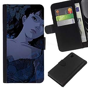 All Phone Most Case / Oferta Especial Cáscara Funda de cuero Monedero Cubierta de proteccion Caso / Wallet Case for Sony Xperia Z1 L39 // Sexy Tattoed Cartoon Girl