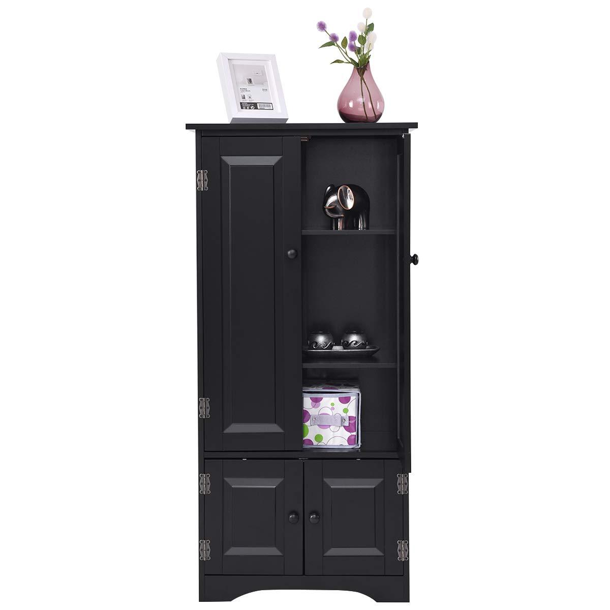Giantex Accent Floor Storage Cabinet Adjustable Shelves Antique 2-Door Low Floor Cabinet 24'' Lx13 Wx49''H (Black)