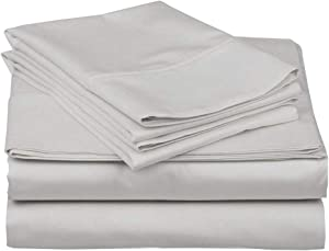 Full Size 4 Pieces Sheet Set - Hotel Luxury Bed Sheets - Extra Soft - 10 Inches Deep Pocket - Easy Fit - Breathable & Cooling - Light Grey Solid