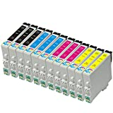 12 Pack - Remanufactured Ink Cartridges for Epson #60 T060 60 T060120 T060220 T060320 T060420 Inkjet Cartridge Compatible With Epson Stylus C68 Stylus C88 Stylus C88Plus Stylus CX3800 Stylus CX3810 Stylus CX4200 Stylus CX4800 Stylus CX5800F
