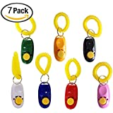 Pet Training Clicker with Wrist Strap - Set of 7, Train Dog, Cat, Horse, Pets with Button Presses Easily, Good Sound, Fits Nicely in Your Hand by Ecocity (Multi-colors)
