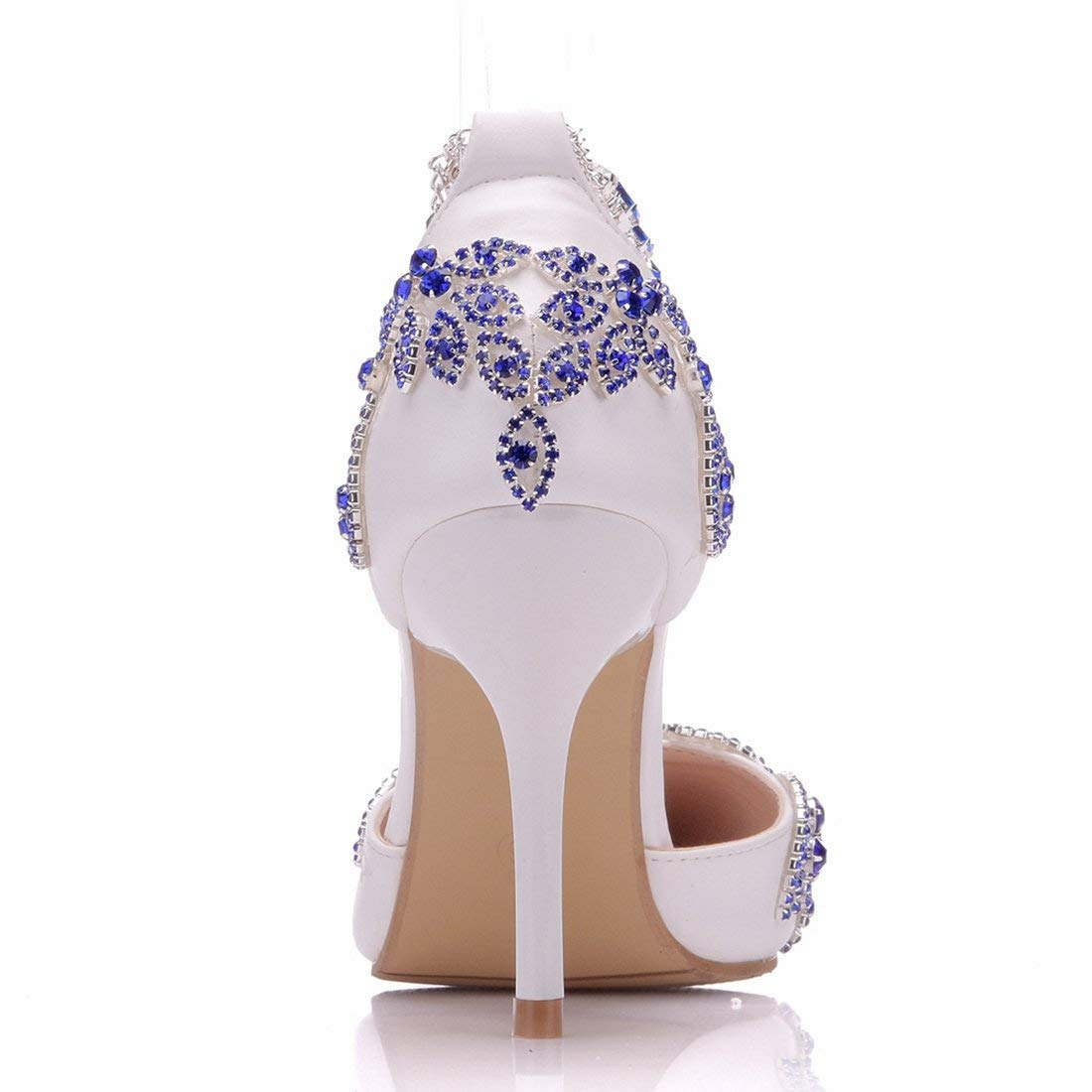ZHRUI Damenmode Damenmode Damenmode Strass Knöchel Ketten Satin Outdoor Hochzeitspumpen (Farbe   Weiß-9cm Heel, Größe   2.5 UK) 5a0512