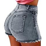 Women's Juniors Summer Denim Shorts High Waisted Elastic Fray Hem Body Enhancing Distressed Jeans Pants Plus Size (XL, Light Blue)