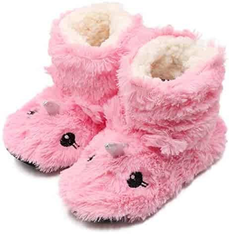 2a4a21fd3 Girls/Kids Cute Unicorn Slipper Socks Winter Warm Plush Fleece Colorful  Slip-on Booties
