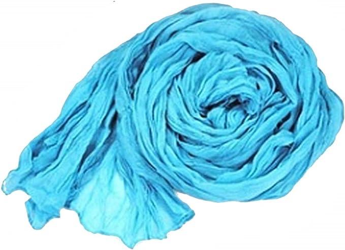 Foulard donna tinta unita colore celeste pashmina donna larga 175 x 45 cm Idea regalo Natale e compleanno cotone acetato