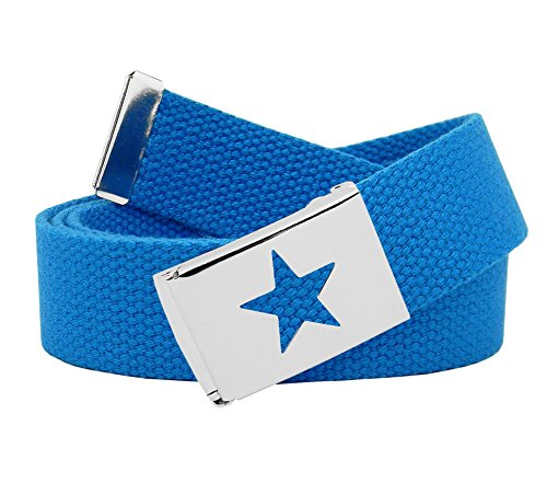 Men's Star Silver Flip Top Military Belt Buckle with Canvas Web Belt Medium Sky Blue
