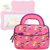 Evecase LeapFrog LeapPad Glo / LeapPad 3 Kids Learning Tablet Ultra Portable Travel Carrying Neoprene Sleeve Case Bag with Handle & Accessory Pocket - Princess Pink