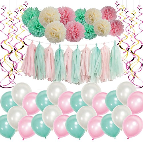 Mainiusi Baby Shower Party Decoration Kit Set for Girls Pink Mint Party Supplies Balloon with Tissue Paper Pom Poms Flowers First Birthday Wedding Bridal Shower Decor 62PCS for Girls Adults (Pink Baby Kit)