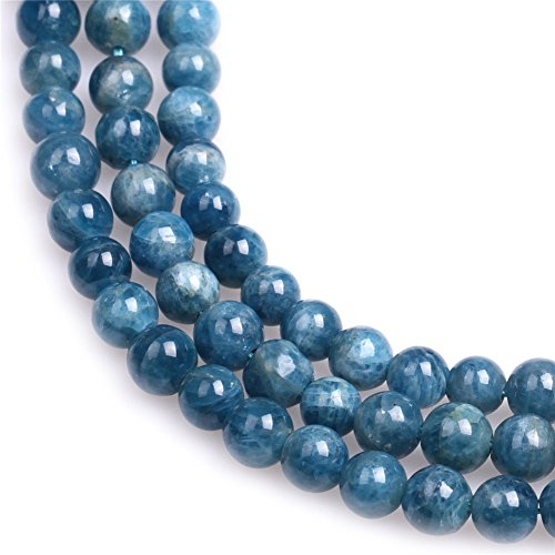 Natural Round Apatite Gemstone Loose Beads In Bulk For Jewelry Making Wholesale One Strand 15 1/2
