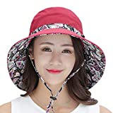 Huichux 100% Cotton Sun Hats for Women Folding Wide Brim Windproof Breathable (Wine)