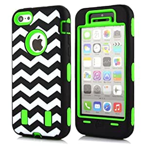 M-Zebra Fashion Colorful Heavy Duty Hybrid Rugged Hard Case Cover For Apple iPhone 5C,with Screen Protectors+Stylus+Cleaning Cloth(Zig Zag Green)