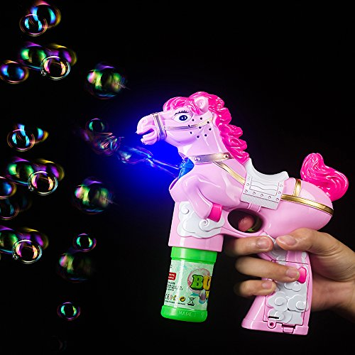 Fun Central BC606 1 Piece 6 Inch Pony LED Bubble Gun, Light Up Bubble Gun for Kids, Pony Bubble Gun - Perfect for Birthday Parties, Pool Parties, Christmas, New Year's Celebration, Halloween - Pony