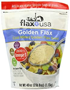 Flax USA 100% Natural Flax Cold Milled Ground Golden Flax Seed, 40-Ounce Pack