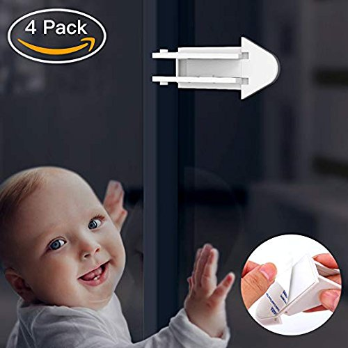 3M Adhesive Sliding Door Lock Keyless Child Safety Locks and Easy Clean (4 Pack, White)