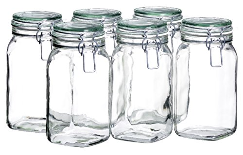 Domestic by Mäser, Serie Gothika, Einmachglas 1.45 L, mit Bügelverschluss, im 6er-Set