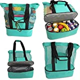 Auralto Ladies Picnic Tote Bag Mesh Insulation and Ventilation Double Layer Oversized Zipper Closed Universal Beach Carry Bag