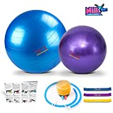 Yoga and Pilates Exercise Ball – 2 Pack Fitness Balls for Home Workouts – 55cm and 30cm Big and Small Yoga Balls Set – Comes with 3 Elastic Stretch Bands – Perfect for Stability, Stretching and Yoga