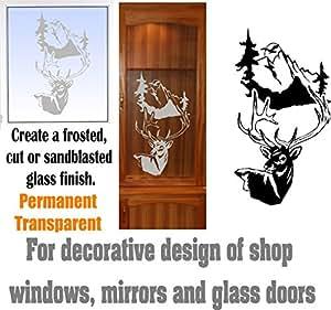 Deer Buck Mountains DIY Etched Glass Vinyl Gun Cabinet Window Front Door GC06B