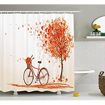 Artistic Shower Curtain Bicycle Decor Ambesonne Autumn Tree With Aged Old Bike And Fall