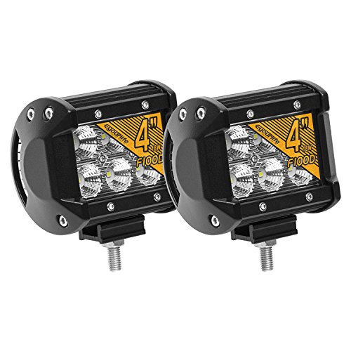 (Eyourlife Led Light Pods, 18w Led Work Light Cree Led 4x4 Off Road Light Bar Pair 4 inch SUV Driving Headlight Flood Pods 2PCS)