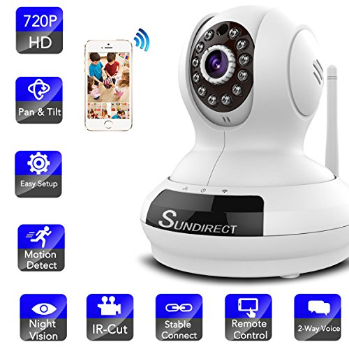Sundirect Wireless Camera,,Baby Monitor, HD720P Wifi IP Surveillance Security Camera,Network Home Remote Video Monitoring ,Plug/Play, PanTilt, Night Vision and Two-Way Audio