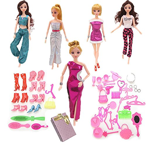 [5Pcs Multi-0level Barbie dolls Handmade Fashion Wedding Party Gowns Dresses Clothes and 50pcs barbis accessories for Barbie dolls girls kids birthday holidays Christmas Xmas Gifts Box By] (Nutcracker Costumes For Sale)