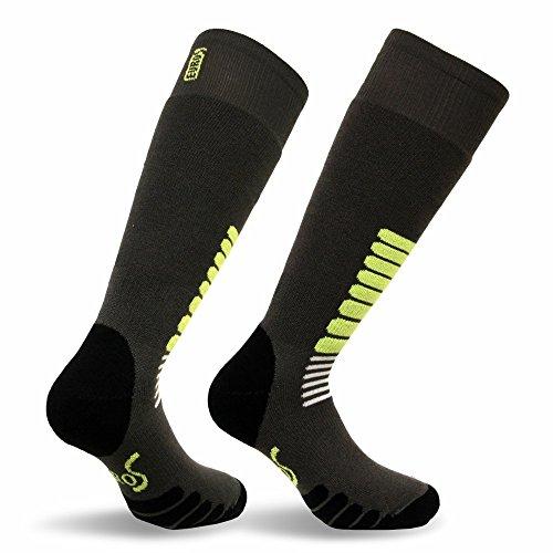 Eurosocks Micro-Supreme Over The Calf Ski Zone Socks,Dark Grey, Large