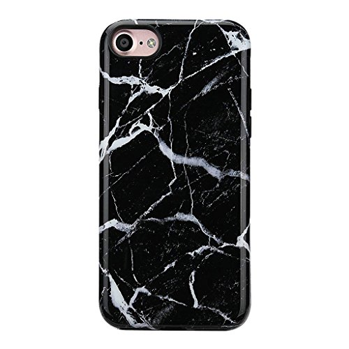 iPhone 8 Marble Case/iPhone 7 Case for Girls,GOLINK GLOSSY Marble Series Slim-Fit Ultra-Thin Anti-Scratch Shock Proof Dust Proof TPU Gel Case for iPhone 7/8 - Black (Girl Dust)