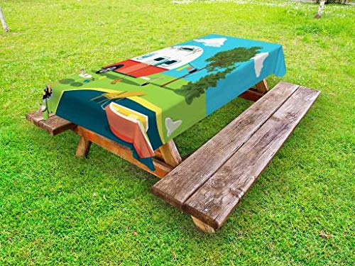 Lunarable Happy Camper Outdoor Tablecloth, Cartoon Fishing Trip Scene Caravan Boat Fire Pit Camping Table Laundry Line, Decorative Washable Picnic Table Cloth, 58 X 84 Inches, Multicolor ()