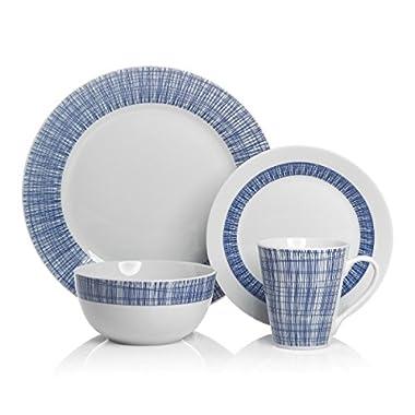 Brilliant - 16 Piece Porcelain Ocean Blue Dinnerware Set, Service for 4