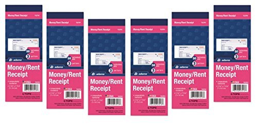 (Adams Money/Rent Receipt Book, Carbonless, 3-Part, 2-3/4 x 7-3/16 Inches, 50 Sets per Book, Pack Of 6)