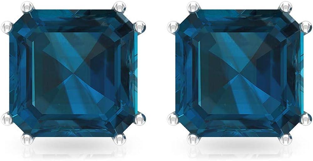 Pendientes con topacio azul de 4,2 quilates, pendientes de boda de dama de honor, certificado SGL Asscher forma de piedra natal, solitario, tornillo hacia atrás