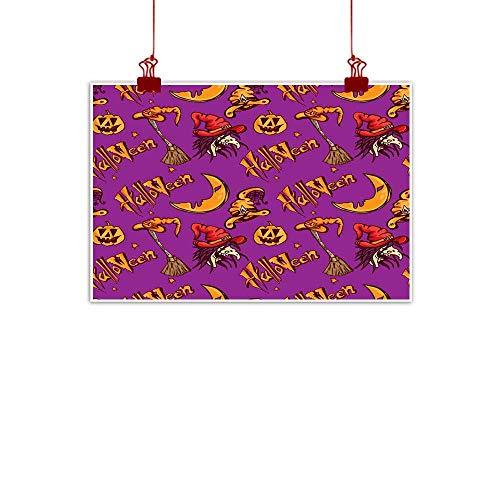 Mannwarehouse Modern Oil Paintings Halloween Pattern Pumpkin Witch Canvas Wall Art 32