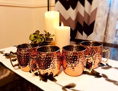 PG Copper Moscow Mule Mugs | Large Size 19.5 ounces | Set of 4 Hammered Cups | Stainless Steel Lining | Pure Copper…