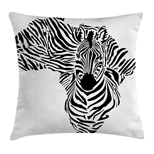 - Ambesonne Safari Throw Pillow Cushion Cover, Illustration of African Map with Zebra's Camouflage Stripes Patterns Cultural Print, Decorative Square Accent Pillow Case, 16 X 16 Inches, Black White