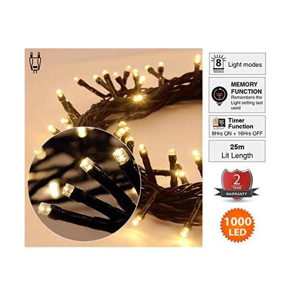 ANSIO Luci natalizie per interni e esterno 1000 LED albero luci Bianco Caldo, 8 modalità con memoria e funzione timer, alimentate, trasformatore incluso 25m Lunghezza illuminata- CAVO VERDE 4 spesavip