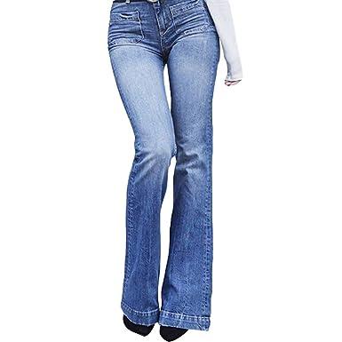 Pantalones Vaqueros de Las Mujeres Pantalones Anchos de la ...