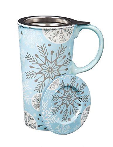 Cypress Home Holiday Snowflake Double Wall Ceramic Cup with Tea Infuser and Lid, Matching Gift Box, 12 ounces (Wall Ceramic Handle)