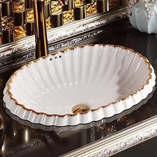 Yadianna 中国オーバルヴィンテージスタイル陶芸流域のシンクのカウンタートップ洗面浴室船シンク洗面化粧台洗面器とシンク