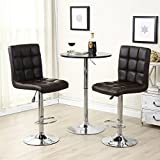 Allura Comfort Pair of Modern Bar Stools Adjustable PU Leather Barstools Swivel Pub Home Kitchen Dinning Chairs | Dark Brown