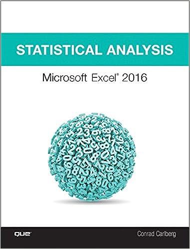 Statistical Analysis: Microsoft Excel 2016 1, Conrad