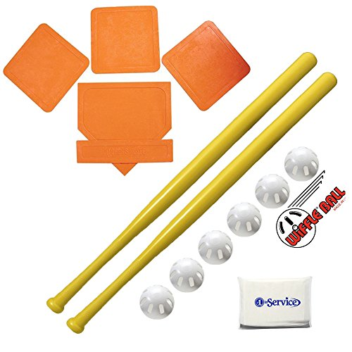 Cheap Wiffle Ball 6 Baseballs Official Size – 6 Pack and Wiffle Ball 32″ Bats 2 Pack, BSN Orange Throw Down Bases (5 Piece), Gift Set Bundle + Bonus NOIS Tissue Pack