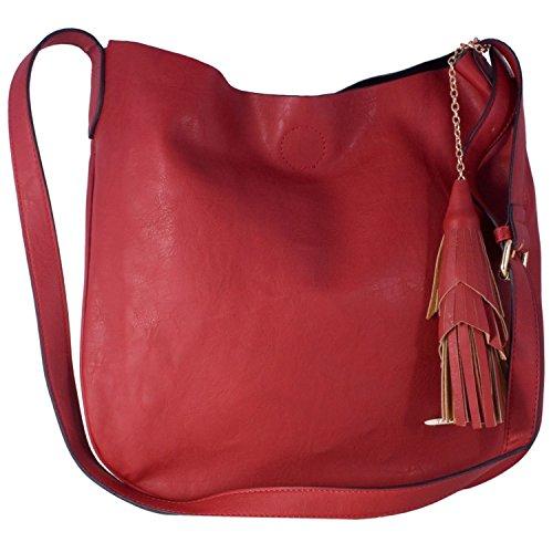 London Style Schultertaschen, rot (rot) - b10112